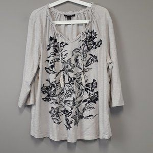 Style & Co Gray Black Floral 3/4 Sleeve Tunic